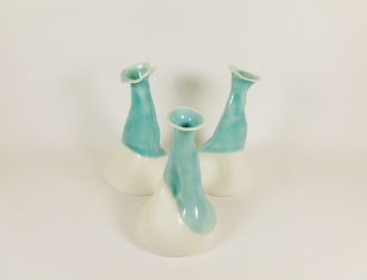 Soliflore porcelaine, vase, brut et turquoise