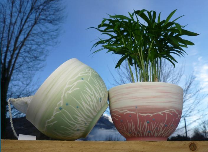 bol porcelaine montagne vert rose