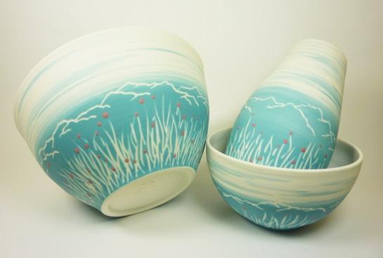 bol saladier porcelaine bleu montagne