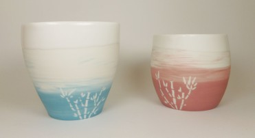 Porcelaine bamboo Pots bleu et rose