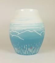 Porcelaine paysage montagne prairie vase bleu