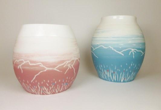 Porcelaine paysage montagne prairie vases