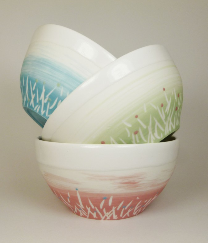 Porcelaine paysage prairie bols bleu vert rose