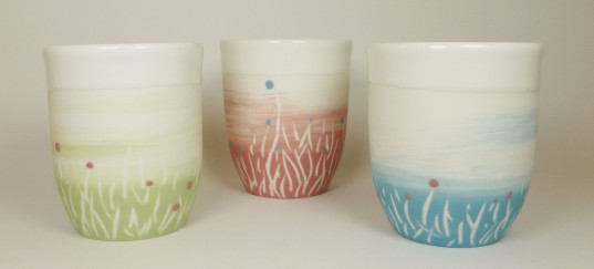 Porcelaine paysage prairie tasses vert bleu et rose2