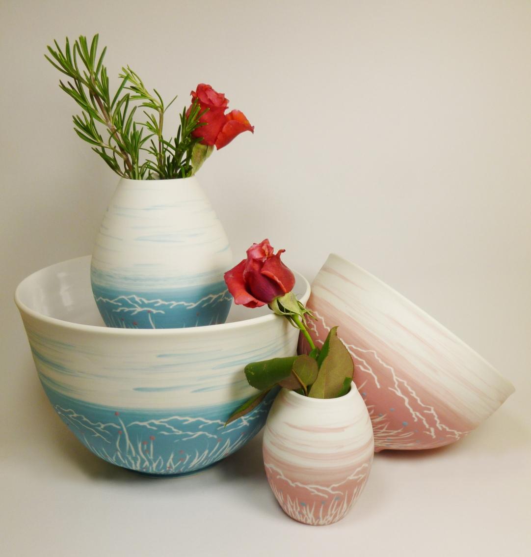 saladier bol vase porcelaine montagne bleu rose