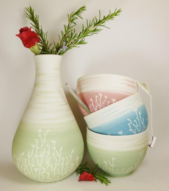 vase bol porcelaine bambou vert + multi