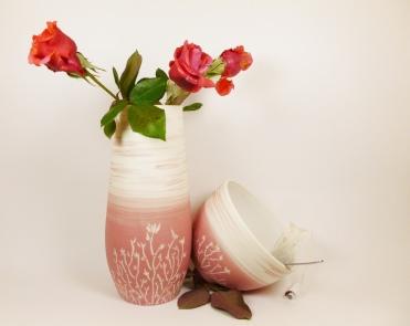 vase et bol porcelaine bambou rose 1