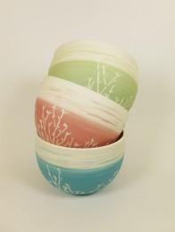 bol porcelaine bambou bleu vert rose