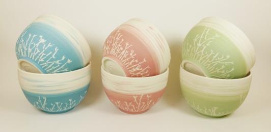 bol porcelaine bambou x2 bleu vert rose
