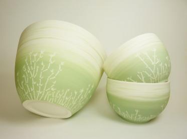 bol saladier porcelaine bambou vert
